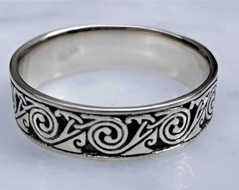 Wind - sterling SILVER Celtic spiral ring, Celtic band