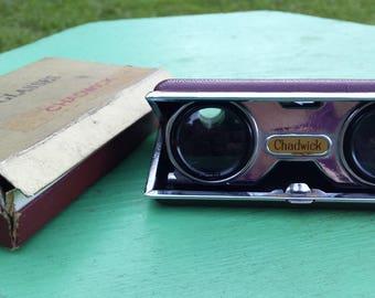 Vintage Chadwick Opera Glasses, Mini Binoculars, Maroon Collapsible Adjustable Opera Glasses Binoculars in Original Box 1960s