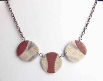 Beige and copper, polymer clay beads, handmade, copper metal chain necklace