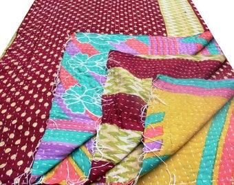 Indian Handmade kantha quilt, Indian gudri throw, Indian kantha table cloth