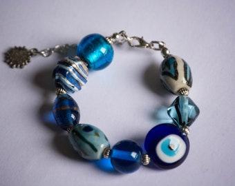 Chunky blue bracelet, Bespoke jewellery, Unique gift