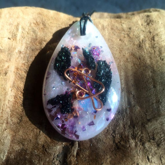 Sun and Moon Energy Orgonite Pendant- Cast During the Total Eclipse- Ancient Mystery School Orgone- Genetic Memory Orgonite Necklace