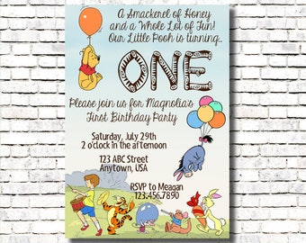 Winnie the Pooh Birthday Invitation - Age One