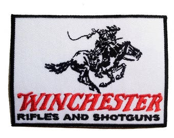 Patch/Ironing-Winchester rifles and shotguns-white-7.5 x 8.7 cm-by catch-the-Patch ® patch appliqué applications for ironing application patches patch