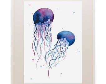Jellyfish Watercolour Print // Art Print // Watercolour // Wall Art // Illustration