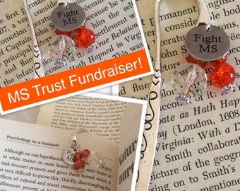 MS bookmark, Multiple Sclerosis bookmark, Fight MS, gift for her, Birthday gift, ms gift,MS awareness, token gift, orange bookmark