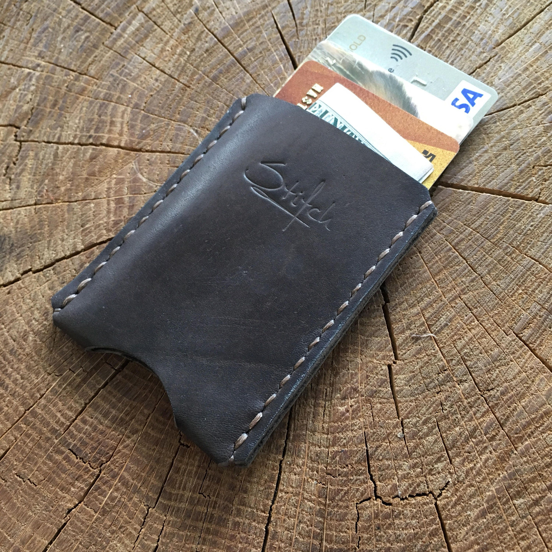 Leather card holder, minimalist wallet, leather Card Sleeve ...