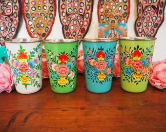 Hand Painted Kashmir Enamelware Gypsy Hippie Shabby Chic Floral Glamping Chai Tumbler Cups x 3