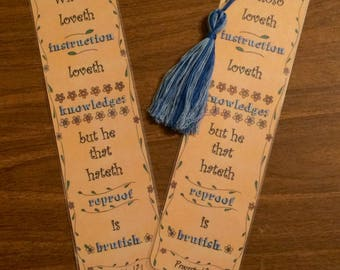 Bible Verse Bookmark - Proverbs 12:1 - handmade WITHOUT tassel  (stock #27) instruction knowledge refroof