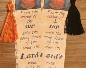 Bible Verse Bookmark - Psalm 113:3 -  handmade WITH tassel  (stock #10) from the rising of the sun