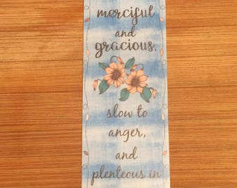 Bible Verse Bookmark - Psalm 103:8 -  handmade WITHOUT tassel  (stock #20) merciful, gracious Lord