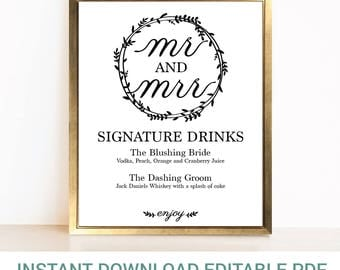Editable Wreath Wedding Signature Cocktails Sign | Editable Sign | Wedding Bar Sign | Mr. and Mrs. Signature Drinks | Instant Download