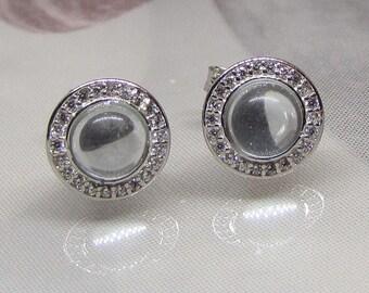 Earrings in Sterling Silver Blue Topaz and cubic zirconia, blue Womens earrings