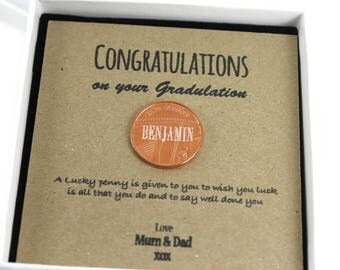 Personalised Lucky Penny Graduation Coin Gift,  Unique Keepsake Gift, Lucky Penny Gift