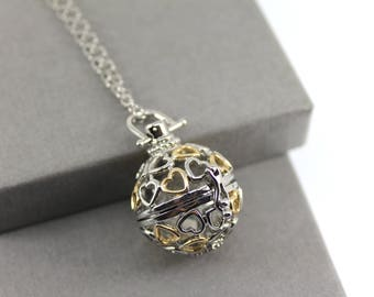 Gold & Silver Heart Locket with Fillable Glass Orb, Memorial Jewellery, Urn Locket, Cremation Jewelry, Fillable Jewelry, Cremation Necklace