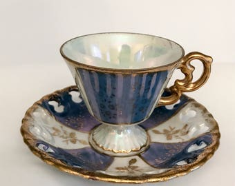 Arco Lusterware Demitasse and Saucer, Mid Century, Blue, Gold