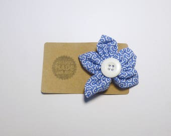 Funky pattern blue hair clip, blue hair accessory, flower shape hair clip, floral hair clip, birthday gift, mothers day gift, hair clip