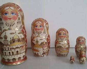 Very pretty stamp matryoshka, nesting doll 7 pieces