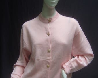 HARROD's London Pink Wool Gilt Button Cardigan