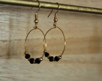 Stud Earrings plated gold with black and gold beads