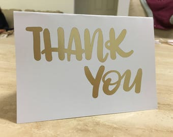 Thank You Greeting Card (landscape) - customisable hand lettering, foiled