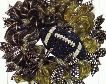 Football Wreath, black & gold wreath, Purdue Wreath, Saints Wreath, Mizzou Wreath, team spirit wreath, football door hanger, Fall wreath