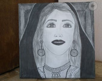Hand-painted canvas Portrait woman In traditional Sardinian costume