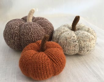 Knit Pumpkins, Fall Decor, Rustic Decor, Table Decor, Mantle Decor, Thanksgiving Decor, Fall Decor, Halloween, Stuffed Pumpkins