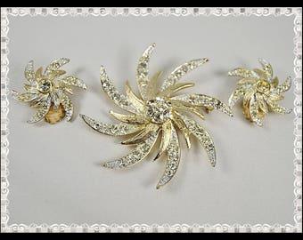 Vintage 50s 60s Goldtone Starburst Rhinestone Pin and Clip-On Earrings