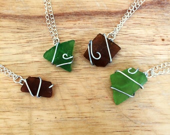 Wire Wrapped Sea Glass Necklaces
