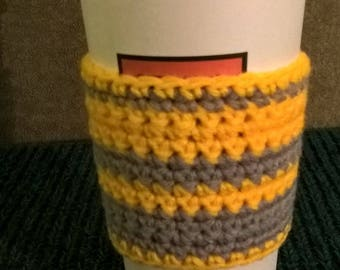 Yellow and gray striped coffee sweater, coffee cozy cozie
