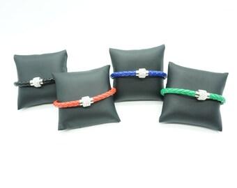 Chambala bead cz braided leatherette bracelet