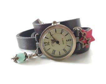 Natural aventurine and genuine multi-turn leather watch.