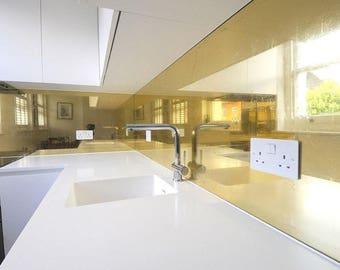 Kitchen Splash Back Polished Brass