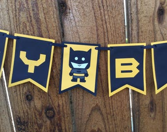Super Hero Batman Themed Birthday Banner