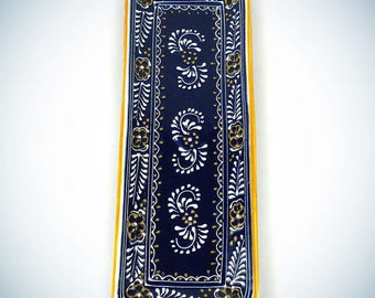 Hand Painted Long Platter in Blue