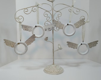 Angel ornaments, contemporary style, white, recycled materials