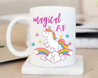 Unicorn Coffee Mug/ Christmas Gift/ Cheap Christmas Gift/ Gift for Friend/ Gift for Coworker/ Secret Santa/ Gift Idea/ Magical AF