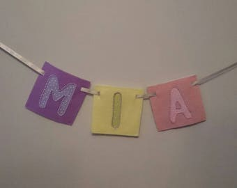 SPRING Bright, pink, purple, wall hanging banners for children's rooms, nursery, names made-to-order with felt and hand-sewn beaded trims.
