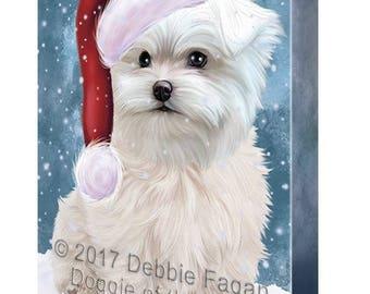 Let it Snow Christmas Holiday Maltese Dog Wearing Santa Hat Canvas Wall Art
