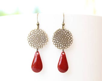 Sequin drop earrings red and rose filigree