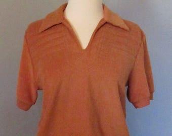 70s Woman's Burnt Orange Terrycloth Shirt