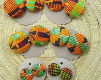 Kente Cloth Fabric Earrings