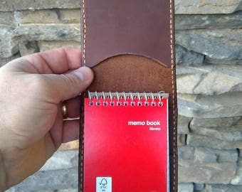 """Leather Memo Notebook Cover, Leather Memo Cover, Leather Notebook Cover, Small Size Cover, 3"""" x 5"""", Dark Brown Leather"""