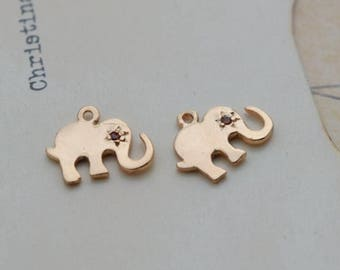 5 of 14k gold filled elephant charm pendant 10*6mm SXC