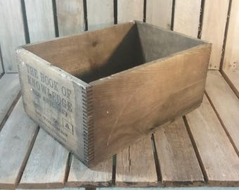Antique Book Crate, Book of Knowledge Wooden Shipping Crate, Old Wood Crate, Dovetail Crate, Wooden Box, Antique Box