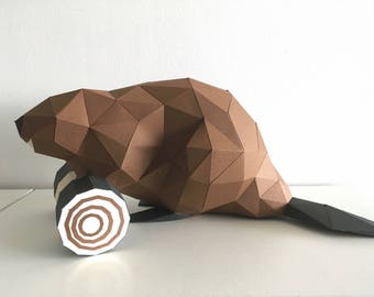 Pre-cut and Pre-scored Beaver Kit - Low Poly Animal
