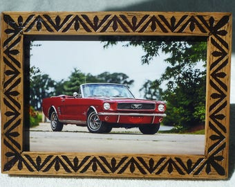Wooden Photo Frame Wood Engraving Vintage Style Gift Natural Oak Free Shipping Mustang Picture Frame Mother Day Gifts