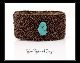 Bead Embroidery Cuff with Turquoise
