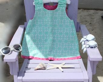 aqua and pink sun dress, reversible, size 3